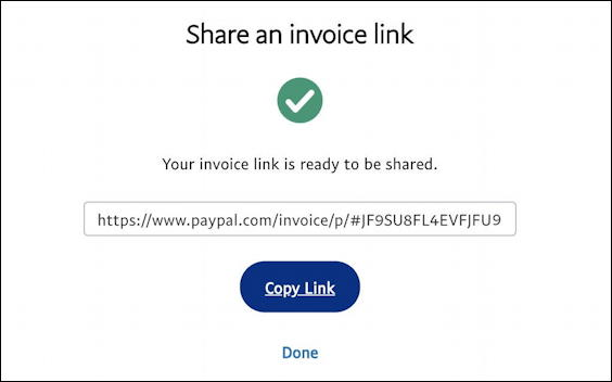 paypal - share an invoice link