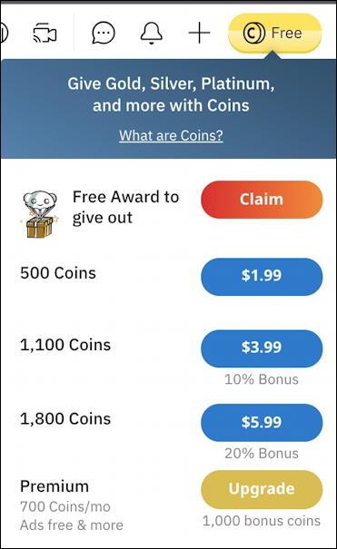 how reddit coins awards work - buy coins menu