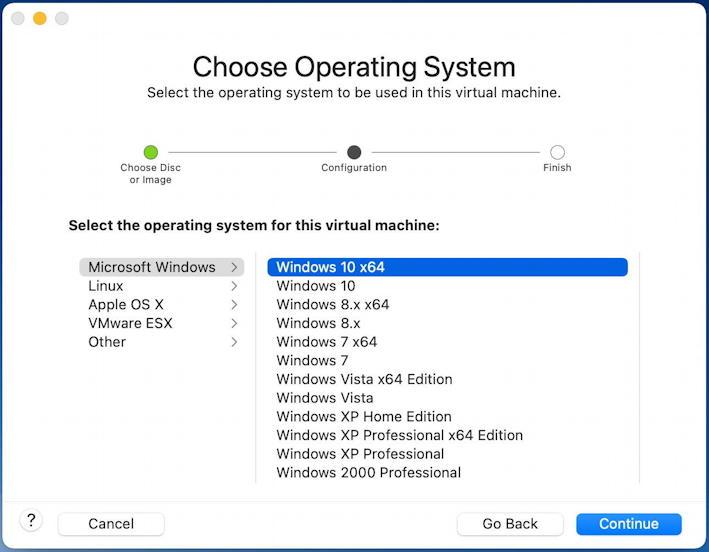 vmware fusion - install windows 11 - choose operating system