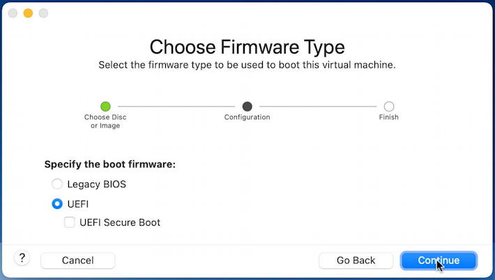 vmware fusion - install windows 11 - choose firmware type