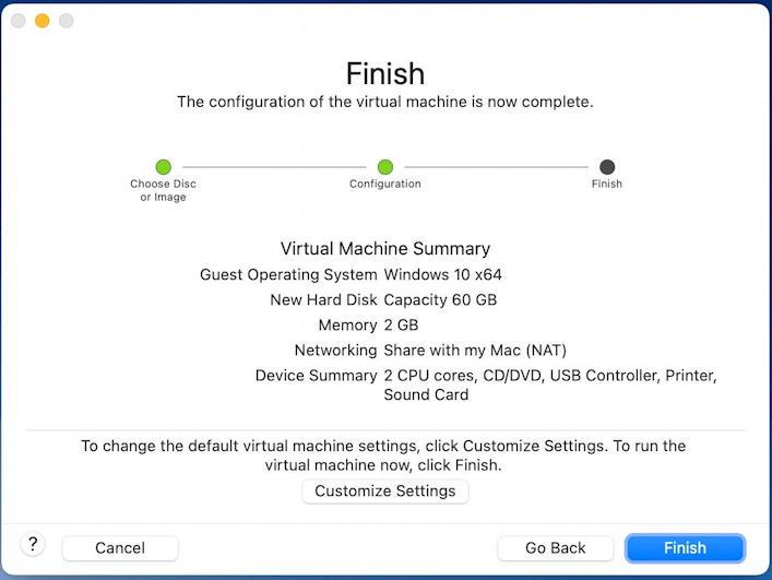 vmware fusion - install windows 11 - finish