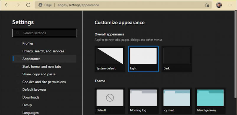 microsoft edge dark mode - grey - settings theme