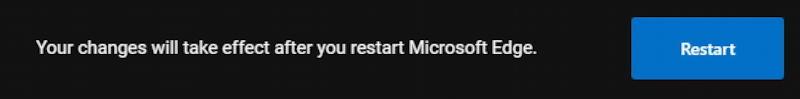 microsoft edge dark mode - black - settings restart to change