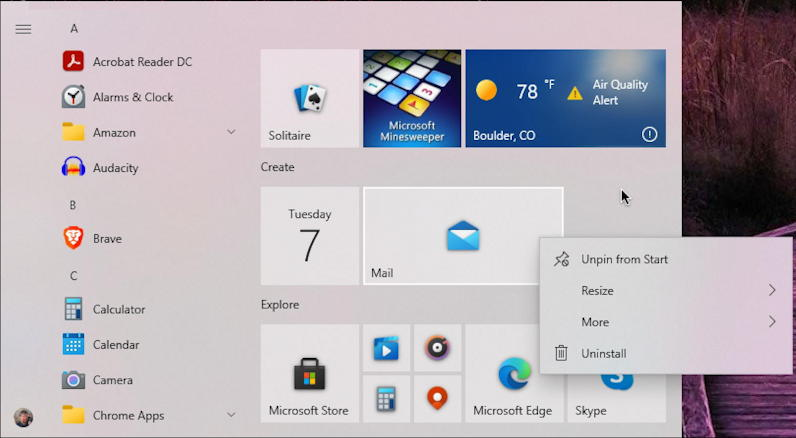 windows 10 win10 - add program tile start menu - options