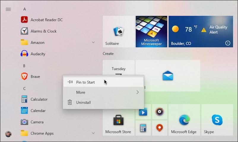 "windows 10 win10 - add program tile start menu - ""add to start"""