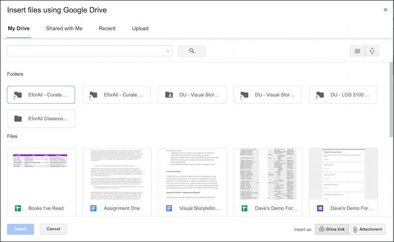 gmail embed google docs document share links - list of docs
