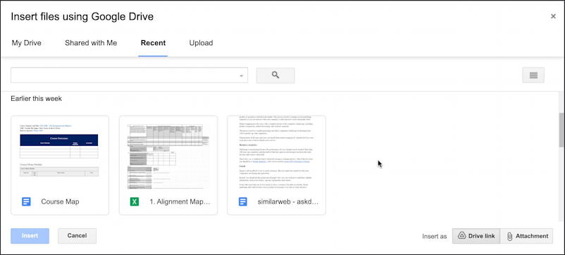 gmail embed google docs document share links - recent docs