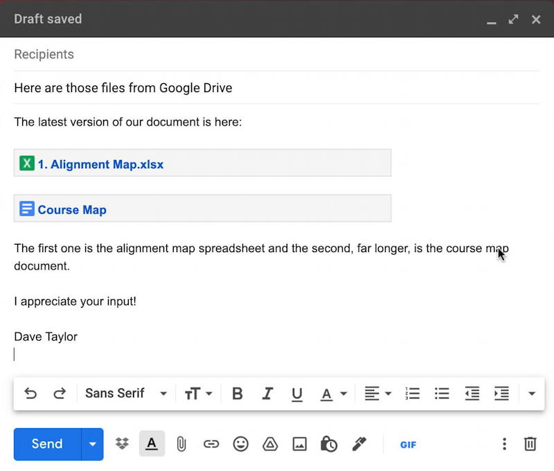 gmail embed google docs document share links - neat embedded links