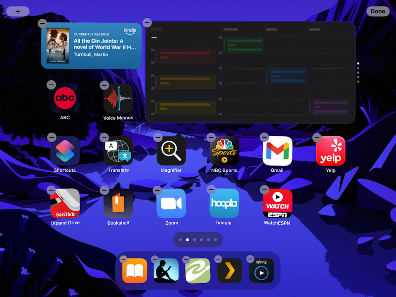 ipad ipados 15 - add widget to home screen - with smart stack calendar kindle widget