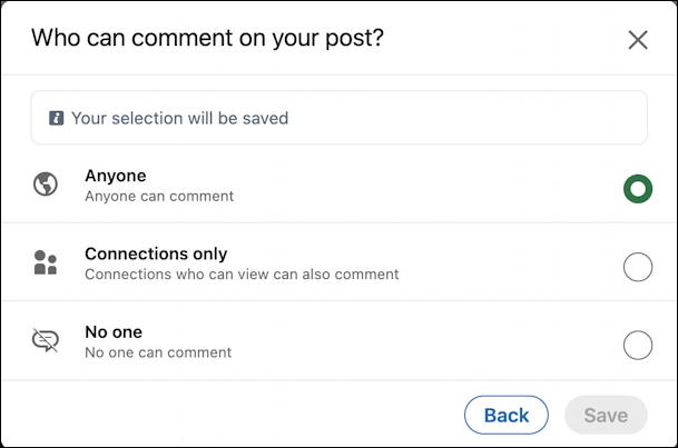 linkedin limit disable comments visibility - who can comment on post