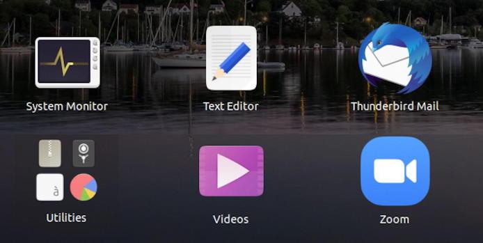 ubuntu linux grid of apps - including zoom