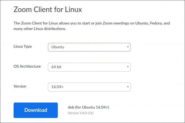 zoom download center - linux ubuntu distro