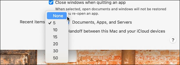 macos 11 - system preferences - settings - general - recent items count number