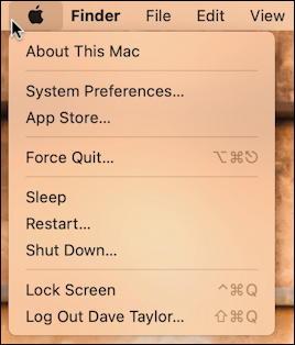 macos 11 - apple menu - no recent items
