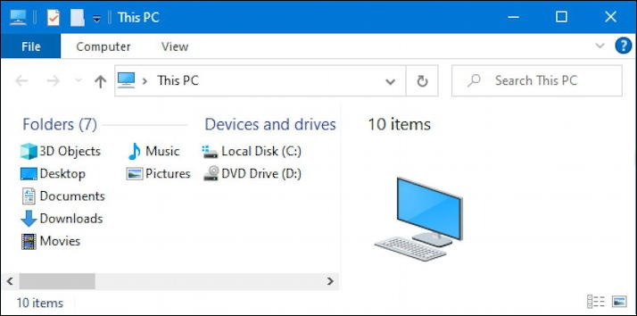 windows 10 win10 microsoft file manager - default view