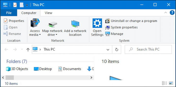 windows 10 win10 microsoft file manager - with ribbon bar
