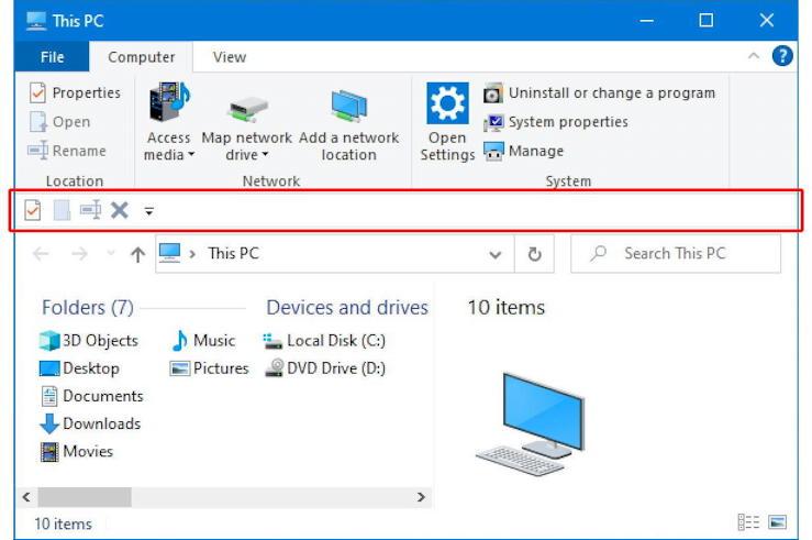 windows 10 win10 microsoft file manager - quick access toolbar below ribbon