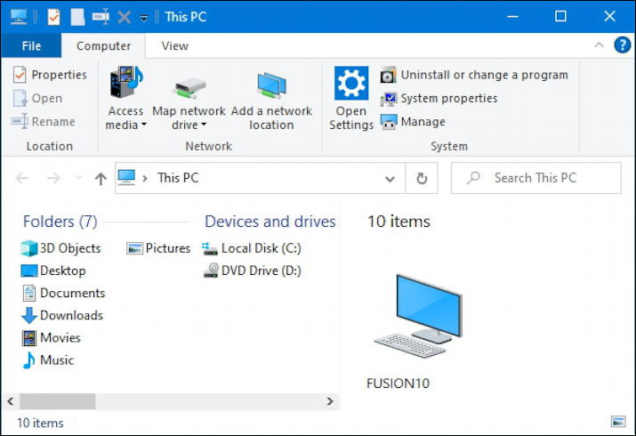 windows 10 win10 microsoft file manager - default with ribbon