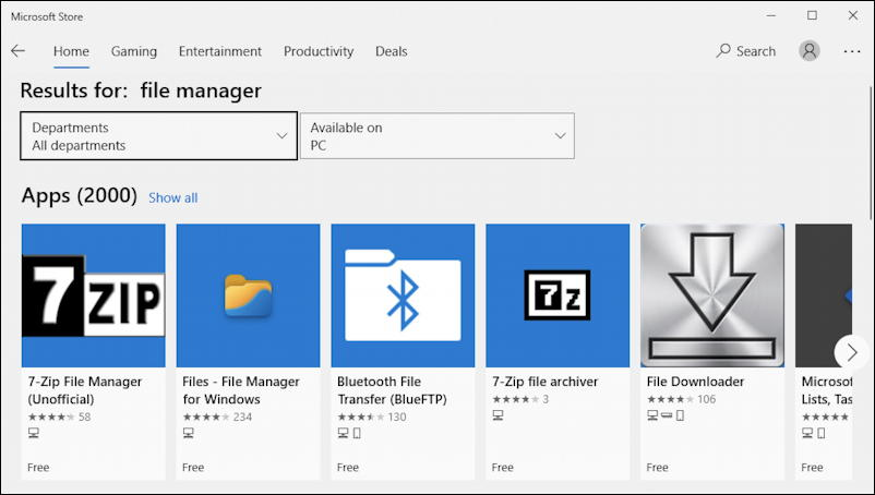 windows microsoft store - file manager search apps 2000