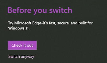 windows 11 app defaults - switch browser chrome are you sure?