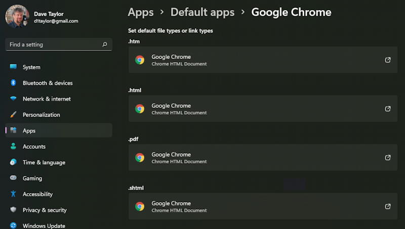 windows 11 app defaults - switched browser chrome
