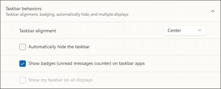 windows 11 taskbar - behaviors - move icons to left